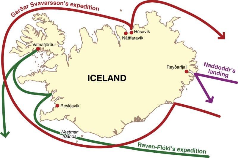 Carte des premiers découvreurs de l'Islande