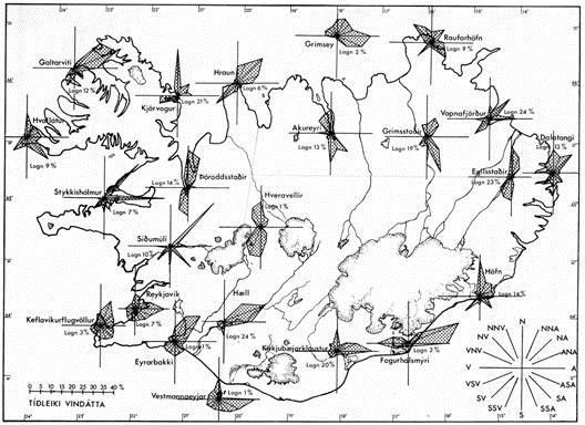Carte des vents en Islande