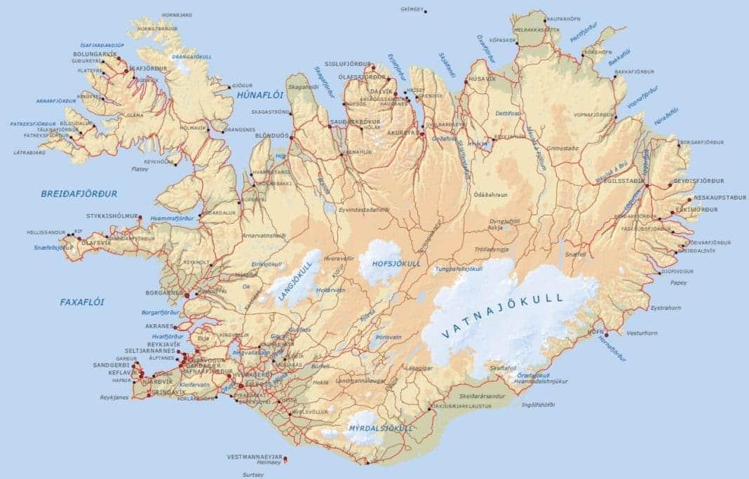 Carte géographique de l'Islande