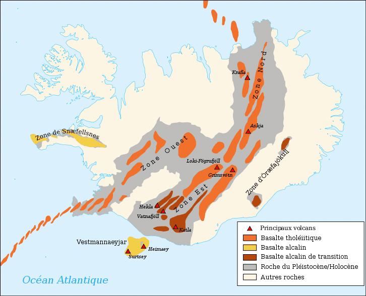 Carte géologique et volcanique de l'Islande