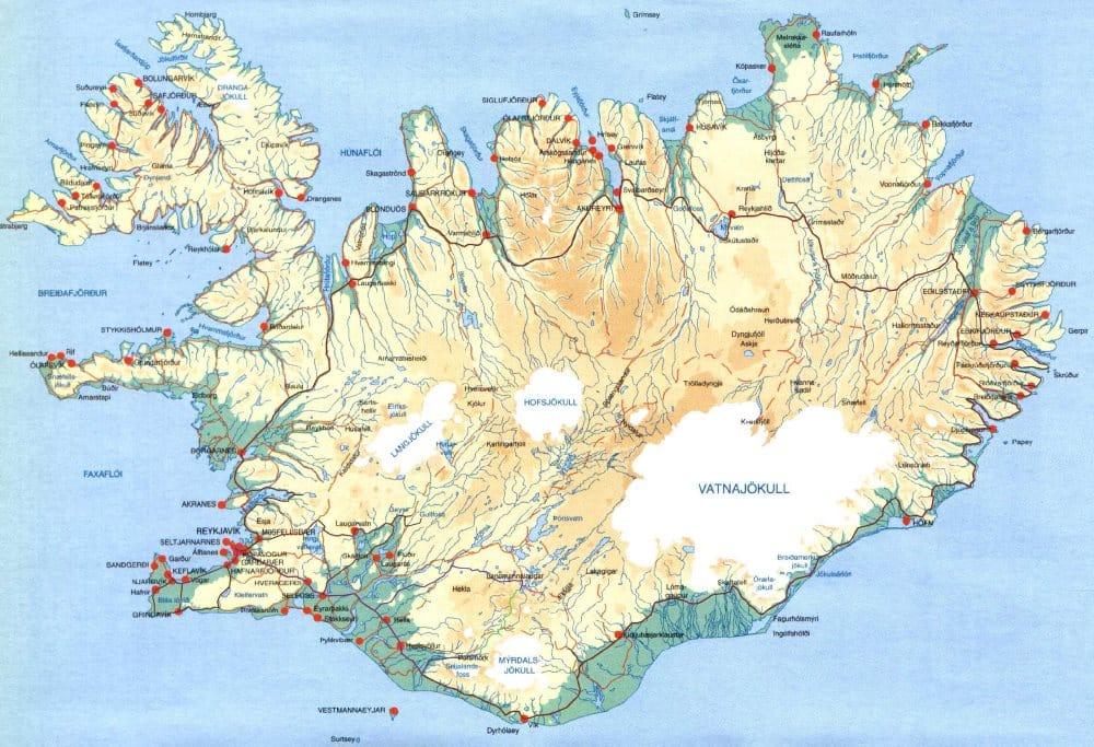 Carte géographique Islande : carte en relief et topographique