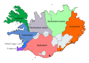 Islande carte administrative