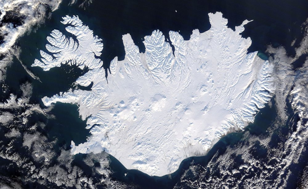 Islande photo satelitte sous la neige
