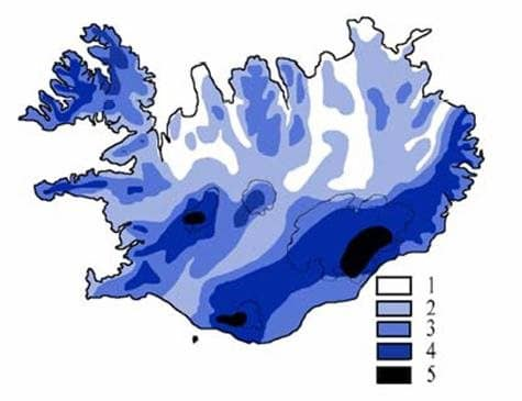 Précipitation moyenne de l'Islande