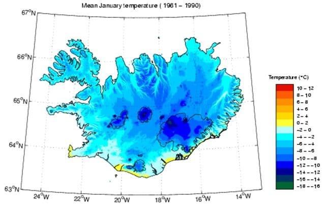 Température moyenne de l'Islande en janvier