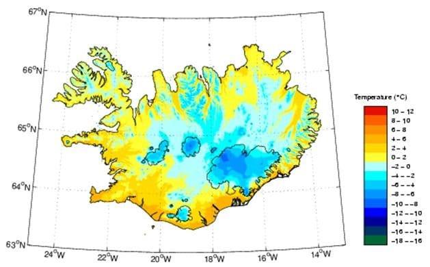 Température moyenne de l'Islande