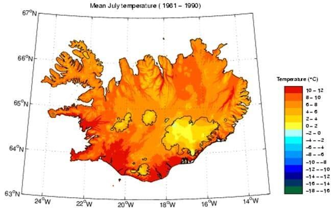 Température moyenne de l'Islande en Juillet
