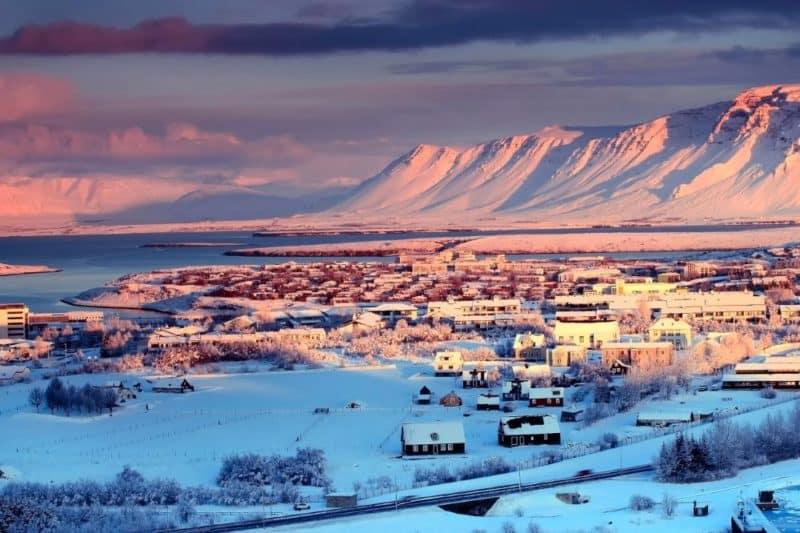 Village islandais en décembre