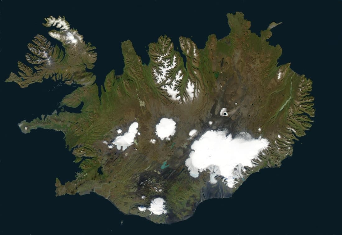 Photo satellite de l'Islande