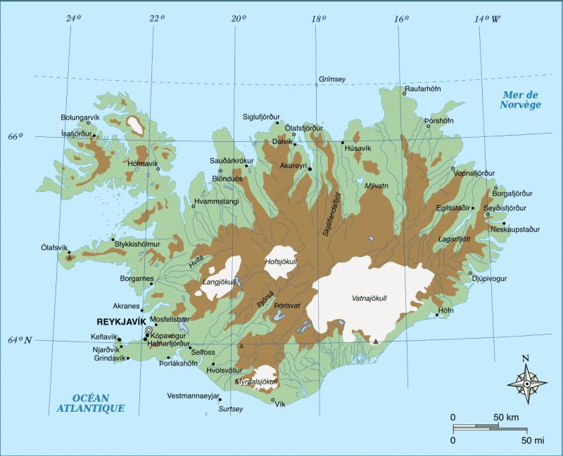 Carte des hautes terres d'Islande