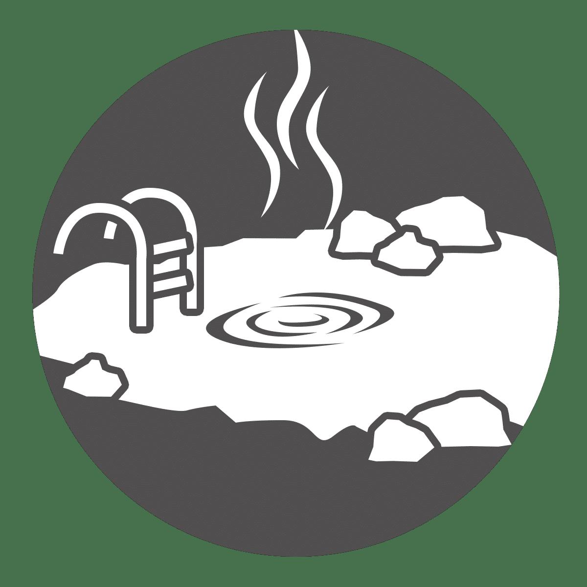 Lieu source et bain d'eau chaude