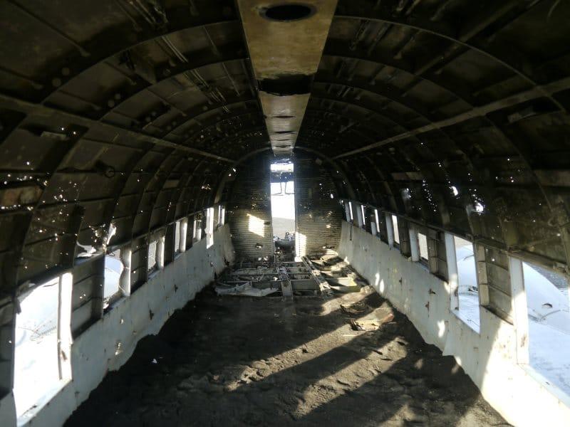 Epave DC-3 Islande vue de l'intérieur