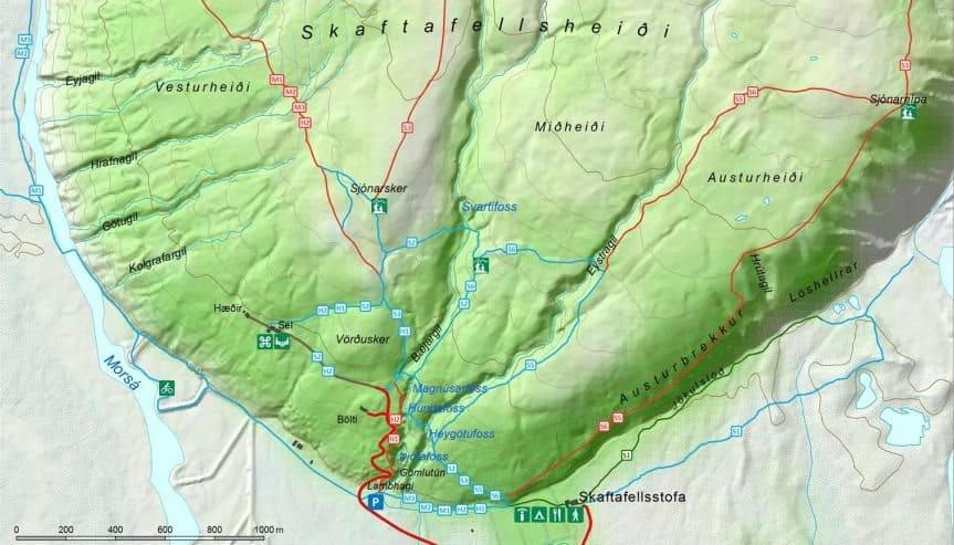 Carte de Skaftafell et Svartifoss