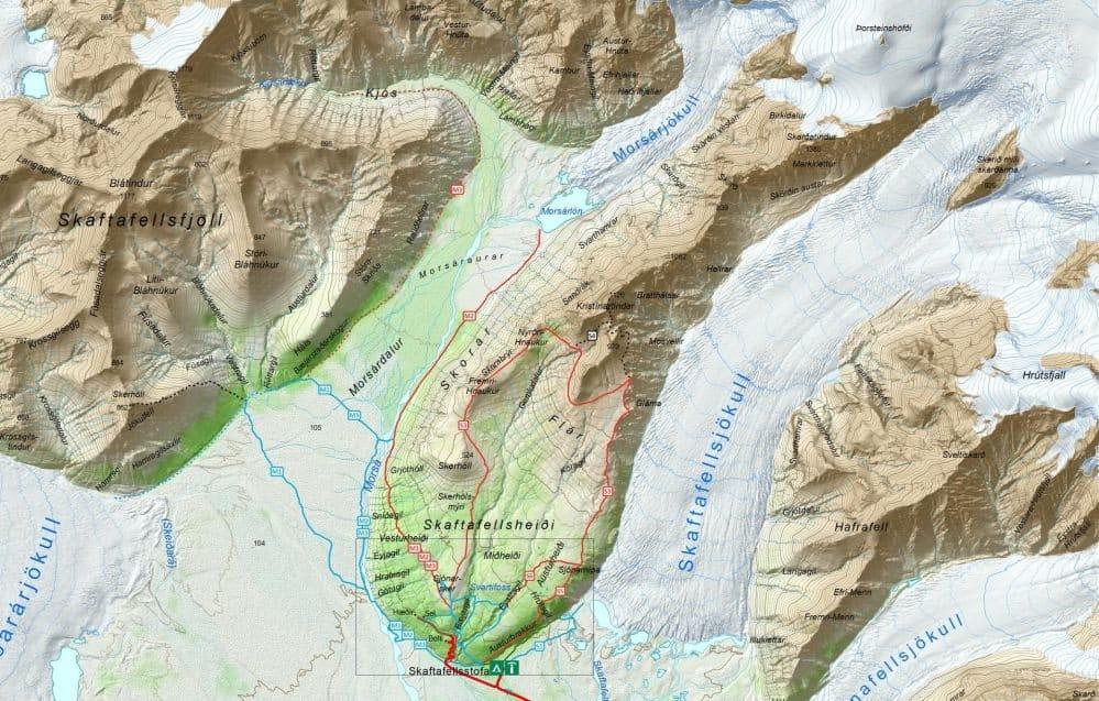 Carte du Parc Nationale des Glaciers de Skaftafell