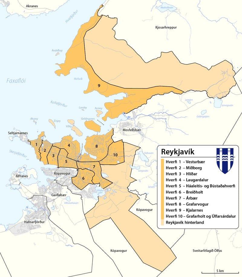 Plan de la ville de Reykjavik avec ses quartiers