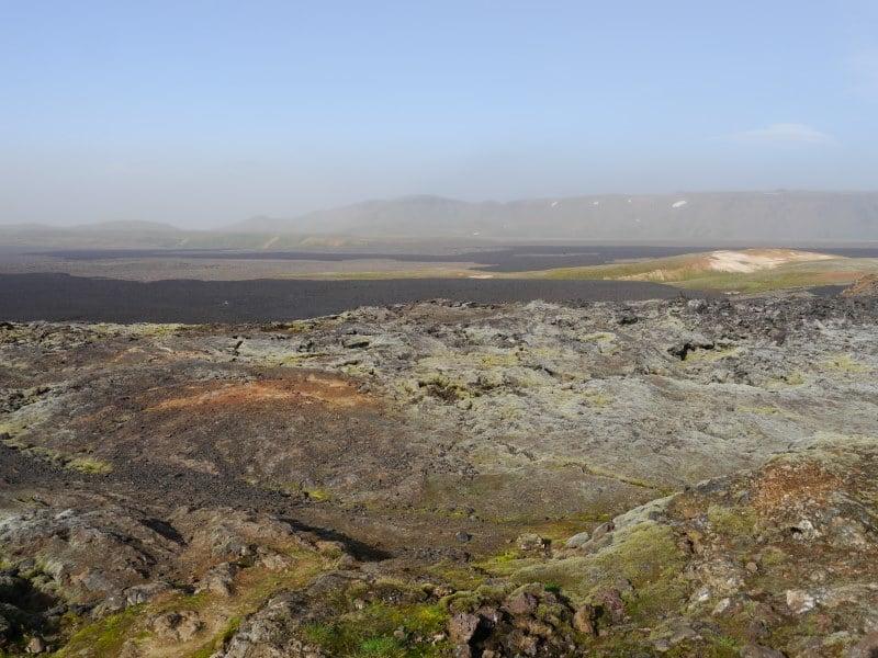 Krafla et le champ de lave Leirhnjúkshraun