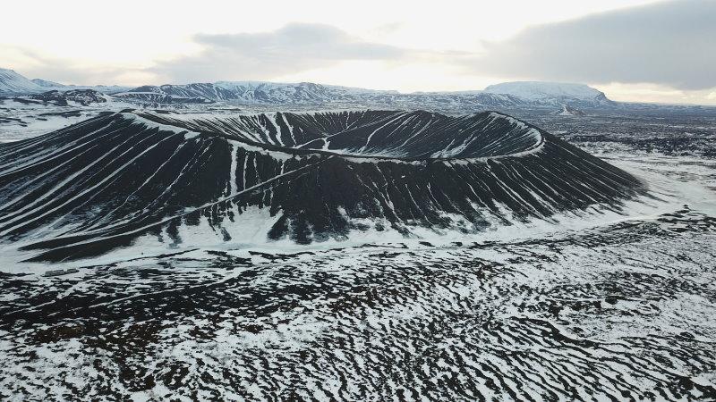 Hverfjall en hiver