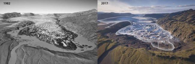 Avant et après la fonte des glaciers en Islande