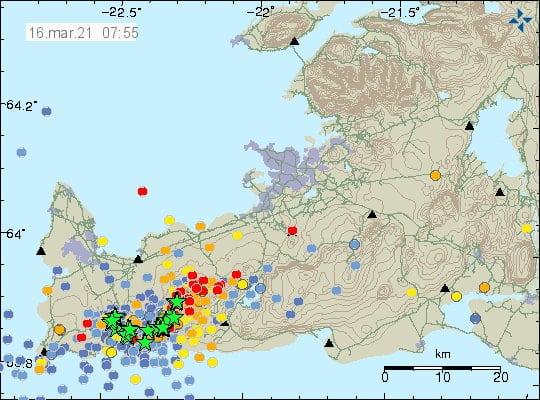 Séismes péninsule de Reykjanes le 16 mars