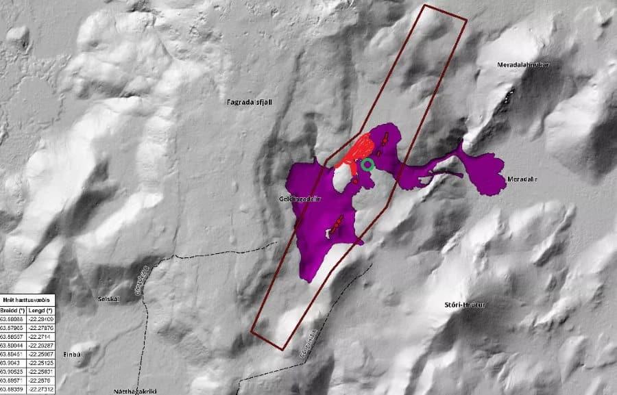 Carte de la zone de l'éruption islande
